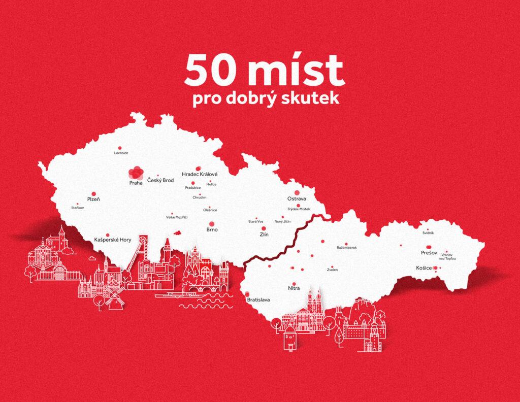 """Systém Coca-Cola spouští projekt """"50 míst pro dobrý skutek"""", jde o součást oslav 50. výročí nápoje Coca-Cola na trhu"""